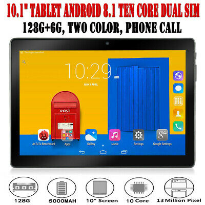"""10.1"""" Inch Tablet PC 6G+128G Android 8.1 Ten Core Wifi 2 SIM & Camera Phone Call"""
