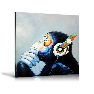 HD Print Oil Painting Home Decor Art on Canvas Monkey Music Unframed