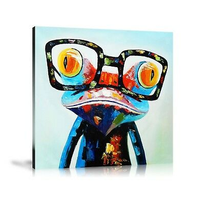HD Print Oil Painting Home Decor Art on Canvas Frog With Glasses Unframed