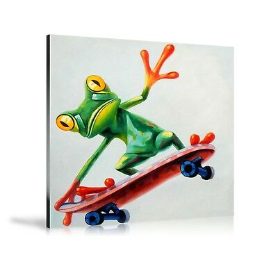 HD Print Oil Painting Home Decor Art on Canvas Skate Frog Board Unframed