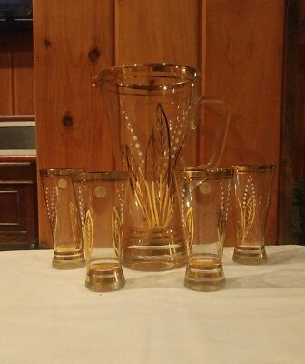 Vintage Romania Gold Glass Pitcher Painted Set White Leaf Floral Tea, Beer