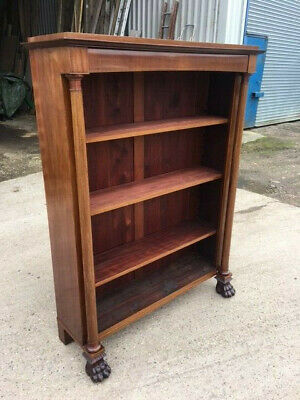 Antique French Empire Mahogany open bookcase with beautifully carved claw feet