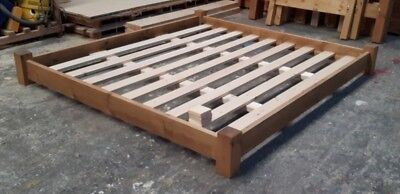 Handmade Chunky Pine Japanese Style Platform Bed Frame: can alter height to suit