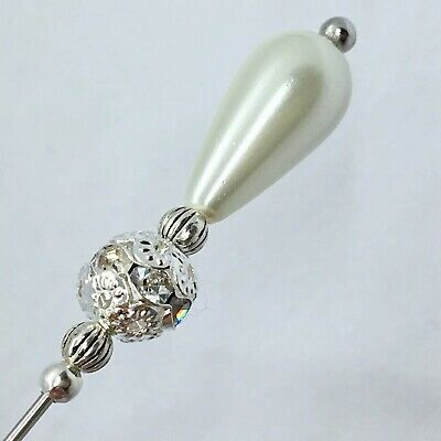 """Ivory Pearl Silver Hat Pin Vintage Antique Style 5"""" Wedding Ascot Hats"""