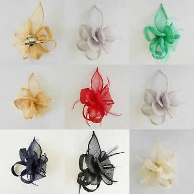 Small Flower Feather Fascinator Brooch Clip Party Prom Royal Ascot Wedding Race
