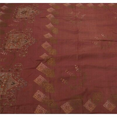 Tcw  Vintage  Saree 100% Pure Silk Hand Beaded Craft Fabric Sari