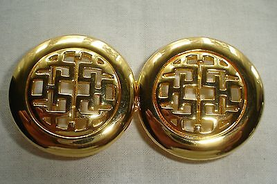 Vintage Dotty Smith Double Round Locking Oriental Design Gold Belt Buckle Signed