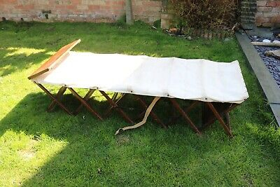Ww1-2 campaign Officers camp bed canvas atcraft British made militaria Foldaway