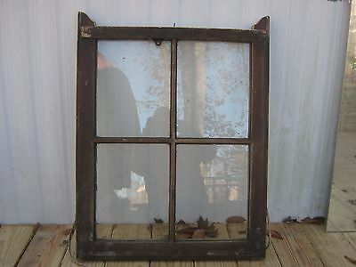 VINTAGE SASH ANTIQUE WOOD WINDOW UNIQUE FRAME WEDDING 32 1/2x24 1/2 4 PANE