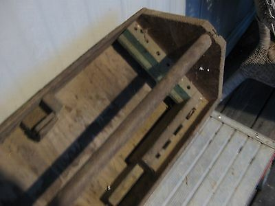 Old Vintage Antique Wooden Carpenter's Tool Box Primitive Carrying Tote Caddy a