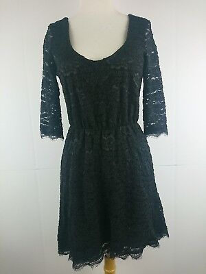 51f9c714d1fc0 Pins and Needles Urban Outfitters Medium M Black Floral Lace Knit Dress  Lined C
