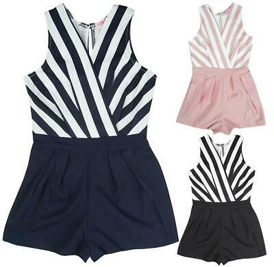 004ce7002a9 Girls Stripe Shorts Playsuit Party Romper Jumpsuit All in One 3 to 14 Years
