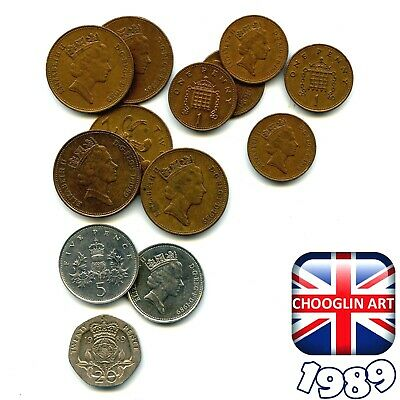 A collection of British 1989 ELIZABETH II coins, 30 Years Old!