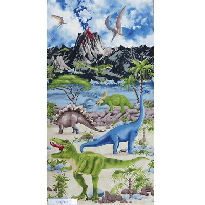 Patchwork Quilting Sewing Fabric JURASSIC DINOSAUR Panel 60x110cm New