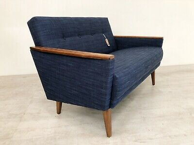 Danish Vintage Inspired Mid Century 50S 2 Seater Cocktail Sofa Settee In Navy