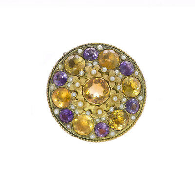 Antique Victorian Amethyst Citrine & Pearl Brooch