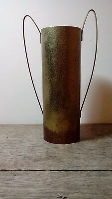 Antique Arts And Crafts Hammered Copper Wine Bottle Sleeve With Two Handles.