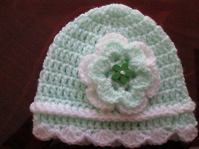 beautiful  hand knitted/crochet mint green/white  hat size 0-3 months
