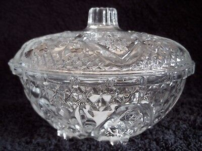 Glass Patterned Trinket Box/Bowl With Lid.