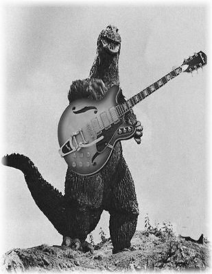 Godzilla with guitar Monsters of Rock t-shirt100% cotton