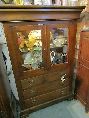 Lovely Antique/ Vintage French 3 Draw 2 Glazed Door Display Cabinet Cupboard