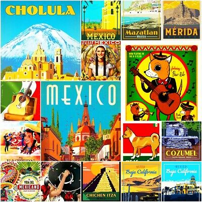 Mexico Fridge Magnet Poster Retro Vintage Cute Art City Photo Gift Travel 2x3""