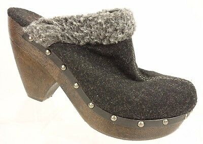 BIG BUDDHA 'Viva' Solid Gray Fabric Slip On Platform Mule Heel Shoe Women's 8.5