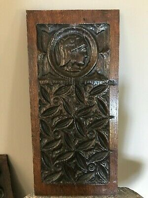 Antique Carved Oak Gothic Church ROMAYNE Portrait TRACERY Panel