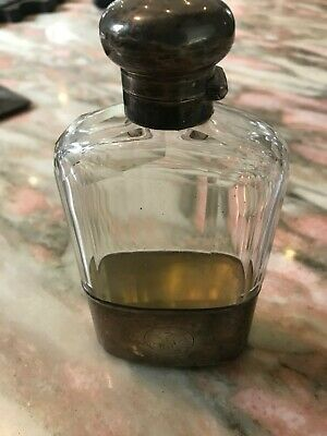 Antique Cut Glass and Silver Flask Bottle