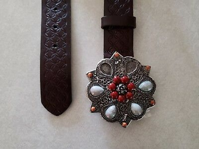 EXPRESS Brown Womens Leather Belt Size Small S  jewel 38