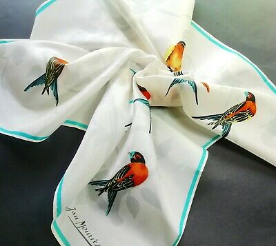 Vintage Silk Designer Scarf - White with Swallows - Jan Mouries, Paris - 1960s