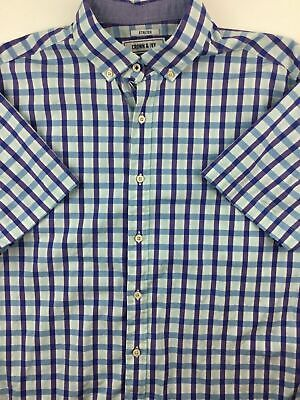 73c933b13be Men's Crown & Ivy Button Down Shirt Short Sleeve Size Large Blue Checkered