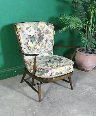 Vintage Ercol Armchair, Model 477, Dark Wood, Rose Upholstery, Retro, Lounge