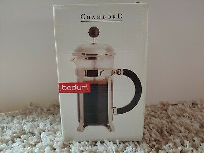 Bodum Chambord French Press Coffee Maker Stainless Steel Blue Handle Top 3 cups