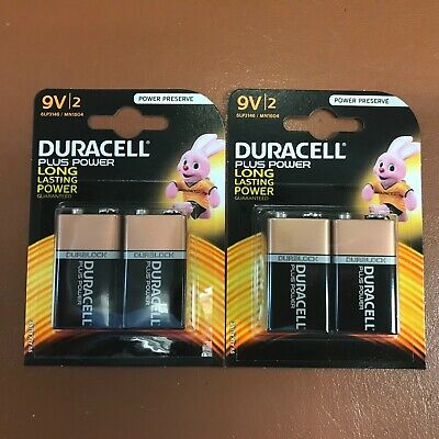 4 Duracell 9V PP3 Plus Power Batteries Smoke Alarm LR22 MN1604 Long Lasting NEW