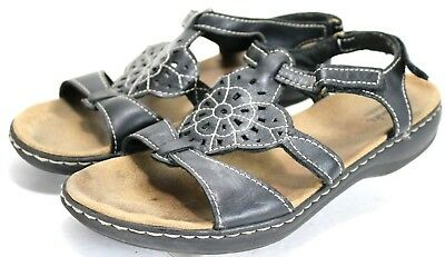 15f7f643acf1 Clarks Leisa Taffy  80 Women s Slingback Sandals Size 9.5 Floral Leather  Black