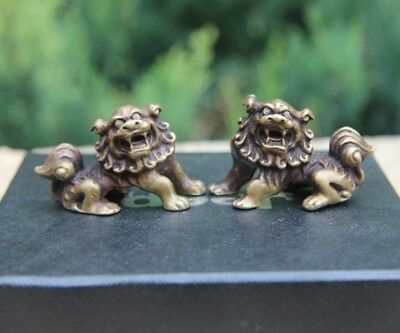 China 100% Pure Bronze Foo Dog Lion Counteract Evil Force Fengshui Aniaml Statue