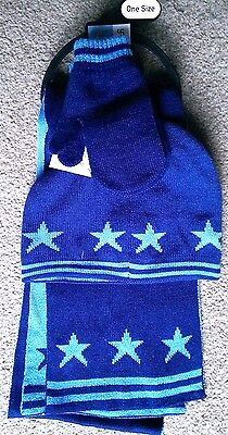 Ex.store blue stars knitted winter set- hat, mittens & scarf - 2-5 Years - BNWT!