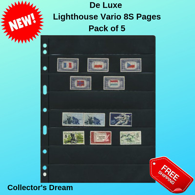 Lighthouse Vario 8S Stock Stamp Album Pages 8 Rows Professional Black 5 Sheets