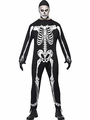 Zombie Skeleton Mens Halloween Horror Fancy Dress Costume Party Outfit Adult
