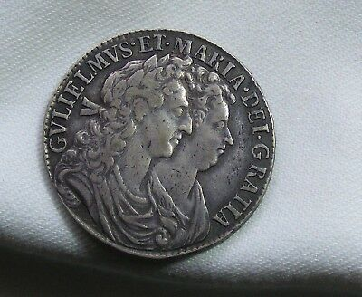 William and Mary 1689  Half Crown GVF Condition