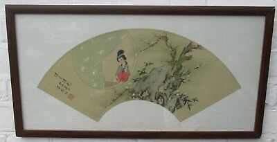 Antique Chinese Painting on Silk - Lady with Plum Blossom & Bamboo - F/G Signed