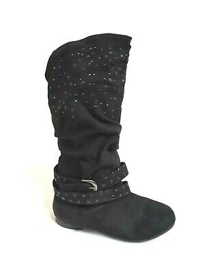 Toddler 9 10//Youth 11-4 Link Girls Zipper Faux Leather Slouch Boots Selena24K