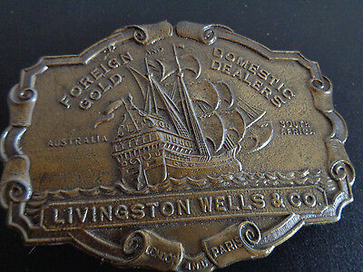 LIVINGSTON WELLS & CO Vintage LEWIS Brass Belt Buckle Foreign Domestic FREE SHIP