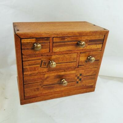 Antique Japanese Inlaid Miniature Chest of Drawers Apprentice Piece Marquetry