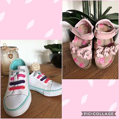 Pink Leather NEXT Floral Summer Sandals & Mothercare trainers Infant Kids Size 5