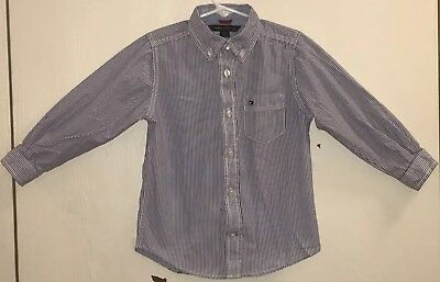 Tommy Hilfiger Toddler Boy's Sz 3T Button Down Shirt Blue/White Stripes Pocket