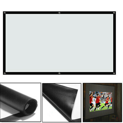 100'' Projector Projection Screen 16:9 White Matte HD Home Cinema Theater Gaming