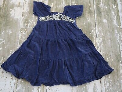 e4b65d4afe0d MINI BODEN Navy Blue Corduroy Peasant Gypsy Stitched Tier Twirl Dress Size 4  5