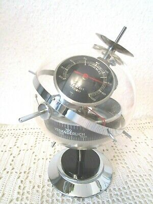 60er Jahre Sputnik Wetterstation Chrom Hygro-Thermo-Barometer Space Age (F479)x